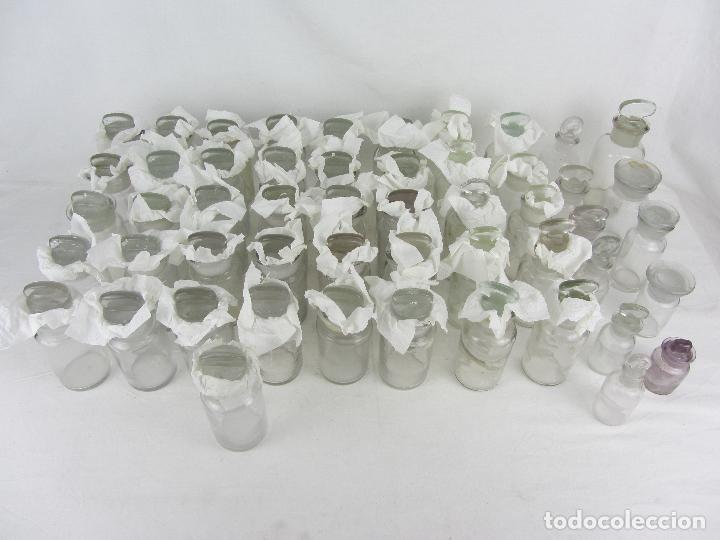 Antigüedades: Lote de 52 frascos de farmacia en vidrio transparente, final siglo XIX, principio del XX - Foto 2 - 288683743