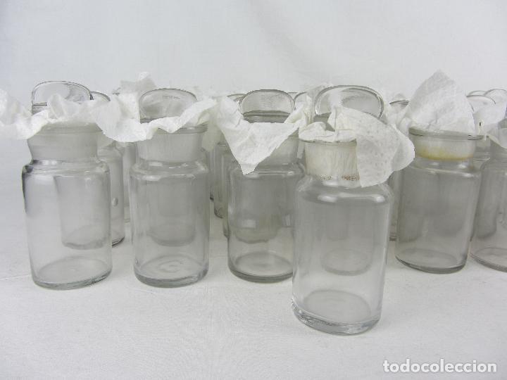Antigüedades: Lote de 52 frascos de farmacia en vidrio transparente, final siglo XIX, principio del XX - Foto 3 - 288683743