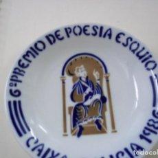 Antigüedades: PLATO SEMINARIO SARGADELOS -CASTRO -1986- 6º PREMIO DE POESIA ESQUIO-AÑO 1986 - 16,5 CENTIMETROS. Lote 288699928
