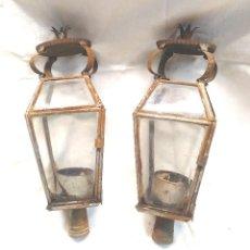 Antigüedades: 2 FAROLES PASO IMAGEN SEMANA SANTA AÑOS 40, HOJALATA. MED. 30 CM. Lote 288702323