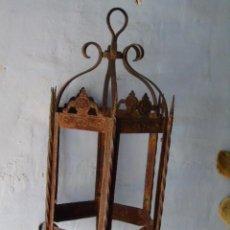 Antigüedades: GRAN FAROL ANTIGUO CON HIERRO FORJADO. Lote 288717943