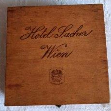 Antigüedades: ORIGINAL 1970´S CAJA DE MADERA HOTEL SACHER WIEN (DE VIENA ). Lote 288733028
