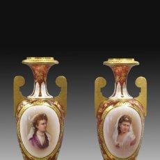 Antigüedades: PAREJA DE JARRONES. VIDRIO. BOHEMIA, REPÚBLICA CHECA, SIGLO XIX.. Lote 288876448