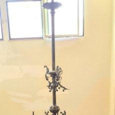 Antigüedades: LÁMPARA DE GAS. 18 CAÑOS DE GAS Y 4 PUNTOS DE LUZ ELECTRICA. BRONCE. SIGLO XIX.. Lote 288891238
