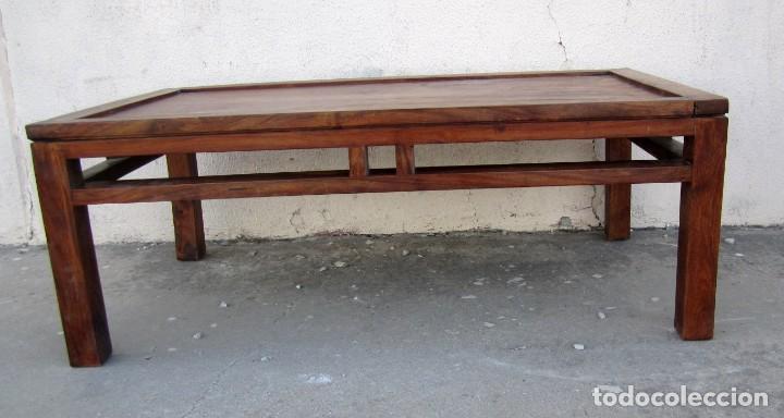 Antigüedades: Mesa baja estilo colonial, rustico para salon o porche, madera maciza de palisandro - Foto 3 - 288894138