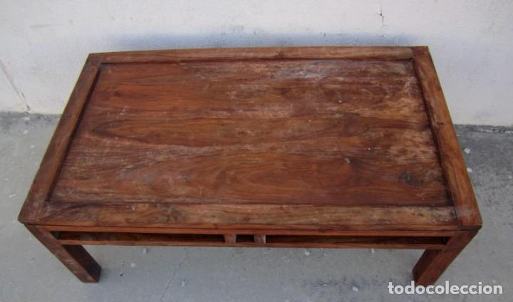 Antigüedades: Mesa baja estilo colonial, rustico para salon o porche, madera maciza de palisandro - Foto 6 - 288894138