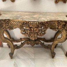 Antigüedades: CONSOLA ISABELINA PAN DE ORO Y MARMOL. Lote 288922423