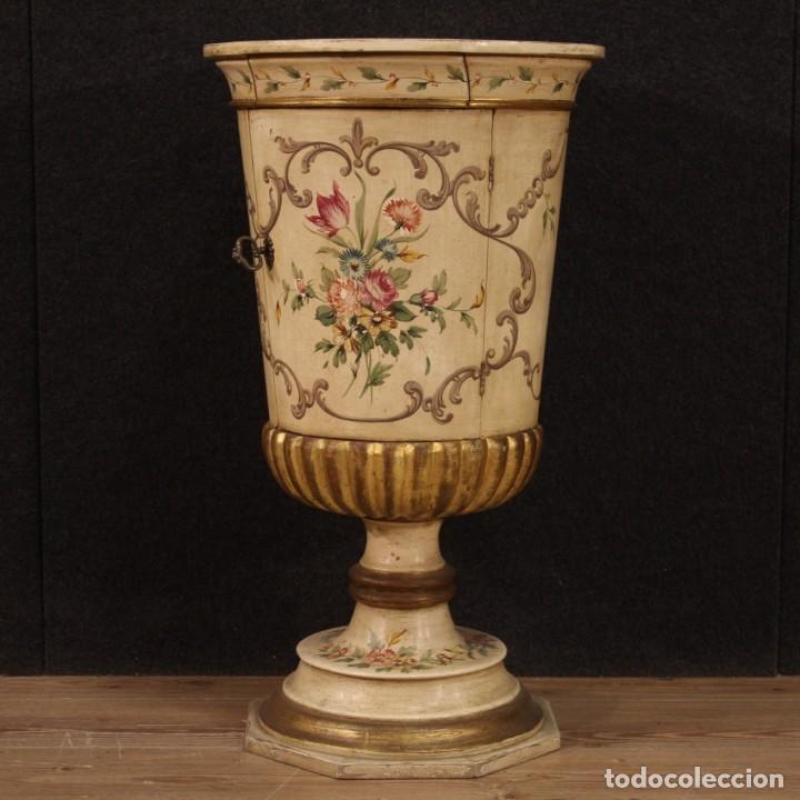 Antigüedades: Mesilla italiana dorada y pintada - Foto 2 - 288928913
