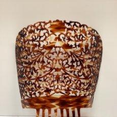 Antigüedades: PEINETA DE GRAN TAMAÑO CALADA - CELULOIDE SIMIL CAREY. Lote 288958978