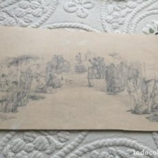 Antigüedades: DIBUJO DISEÑO PARA ABANICO, S XIX , EL VITO , BAILE ANDALUZ. Lote 288983088