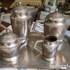Antigüedades: JUEGO DE SERVICIO PARA TE METAL DISEÑO ART DECO C 28601. Lote 288984223