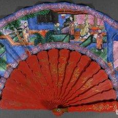 Antigüedades: ABANICO MIL CARAS CON VARILLAJE EN MADERA LACADA. Lote 289004308