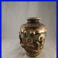 Antigüedades: TIBOR O JARRON CE CERAMICA CHINA SATSUMA CON CARAS EN RELIEVE. Lote 289199973