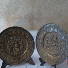 Antigüedades: PAREJA DE PLATOS DE LATÓN. Lote 289238483