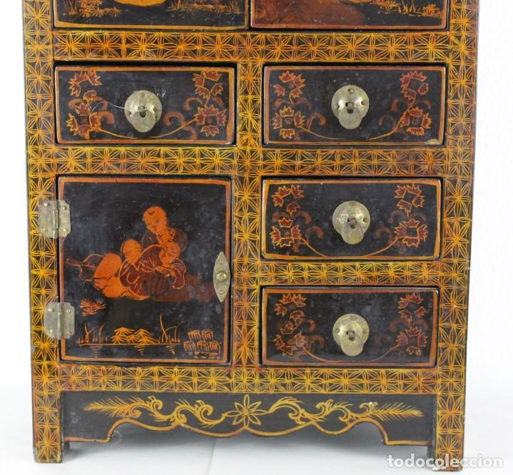 Antigüedades: Mueble joyero chino en madera lacada y pintada a mano. Mediados del siglo XX - Foto 4 - 289241518