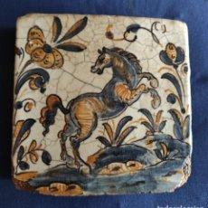 Antigüedades: PRECIOSO AZULEJO, LADRILLO CREO TALAVERA. Lote 289256448