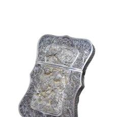 Antigüedades: TARJETERO DE FILIGRANA EN PLATA, CHINA, S.XIX. Lote 289337073
