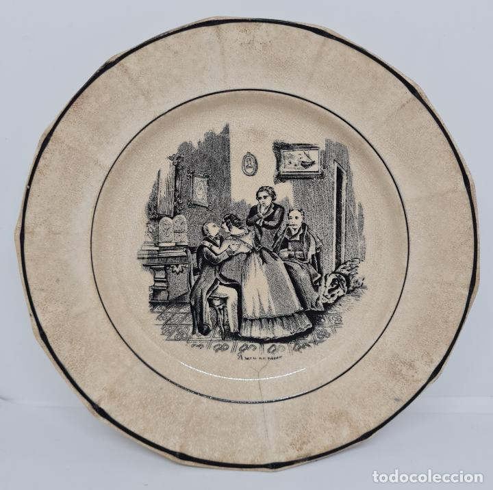 Antigüedades: MUY BONITO PLATO,AMOR DE PADRE,CERAMICA DE LA AMISTAD,CARTAGENA,(MURCIA),S. XIX - Foto 2 - 289346188