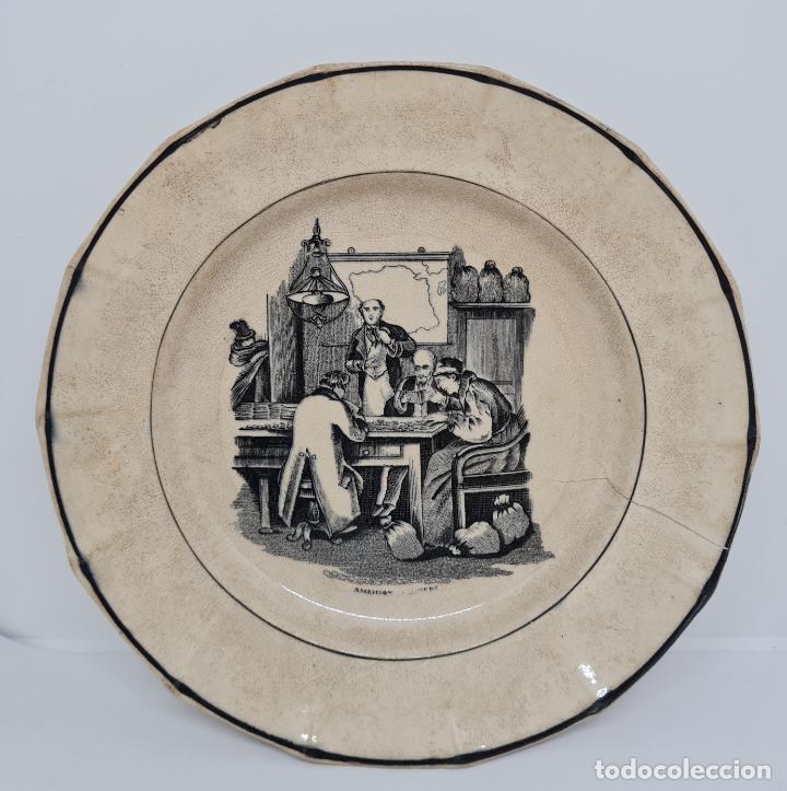 Antigüedades: MUY BONITO PLATO,AMBICION AL DINERO,CERAMICA DE LA AMISTAD,CARTAGENA,(MURCIA),S. XIX - Foto 3 - 289347723