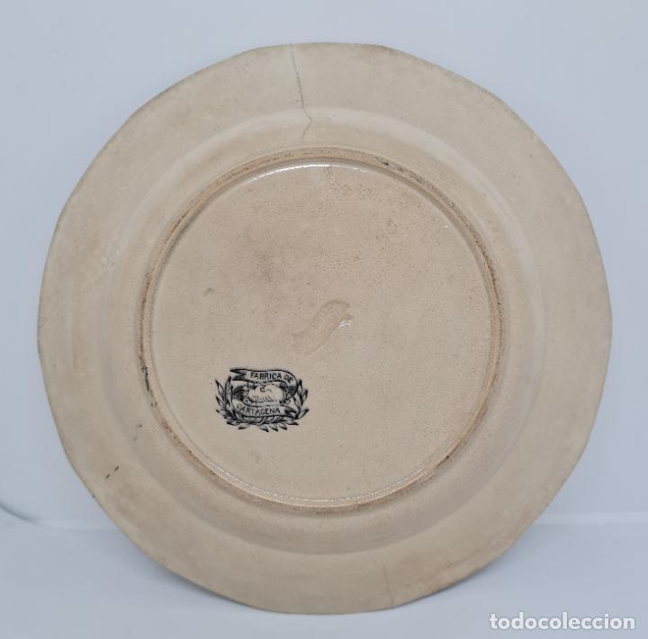 Antigüedades: MUY BONITO PLATO,AMBICION AL DINERO,CERAMICA DE LA AMISTAD,CARTAGENA,(MURCIA),S. XIX - Foto 4 - 289347723