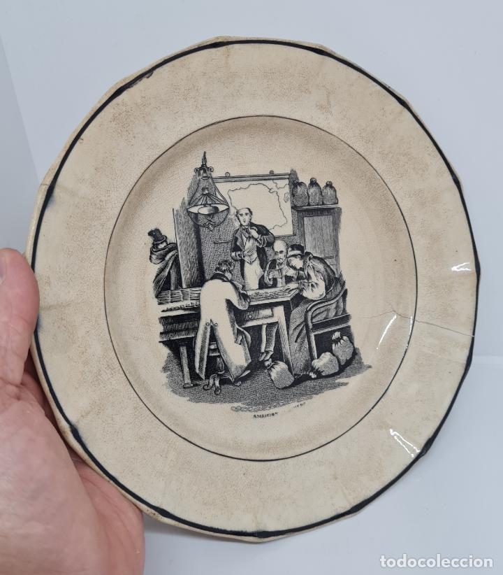 Antigüedades: MUY BONITO PLATO,AMBICION AL DINERO,CERAMICA DE LA AMISTAD,CARTAGENA,(MURCIA),S. XIX - Foto 6 - 289347723