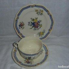 Antigüedades: TAZA DE CAFE CON PLATO Y PLATO DE POSTRE.ROYAL DOULTON JACKFIELD. Lote 289354923
