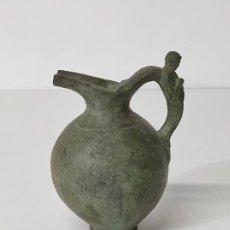 Antigüedades: BONITA JARRA, AGUAMANIL - CERÁMICA NEGRA QUART (GIRONA) - TALLER MARCO - ESCULTURA EN LA ASA. Lote 289394138