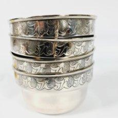 Antigüedades: 4 TAZAS EN PLATA LEY MARCADO CON CONTRASTE. Lote 289467753