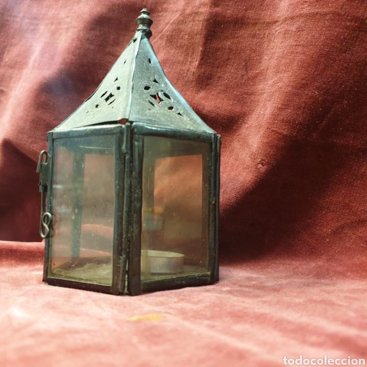 Antigüedades: Farolillo porta velas 15cm alto - Foto 2 - 289487228
