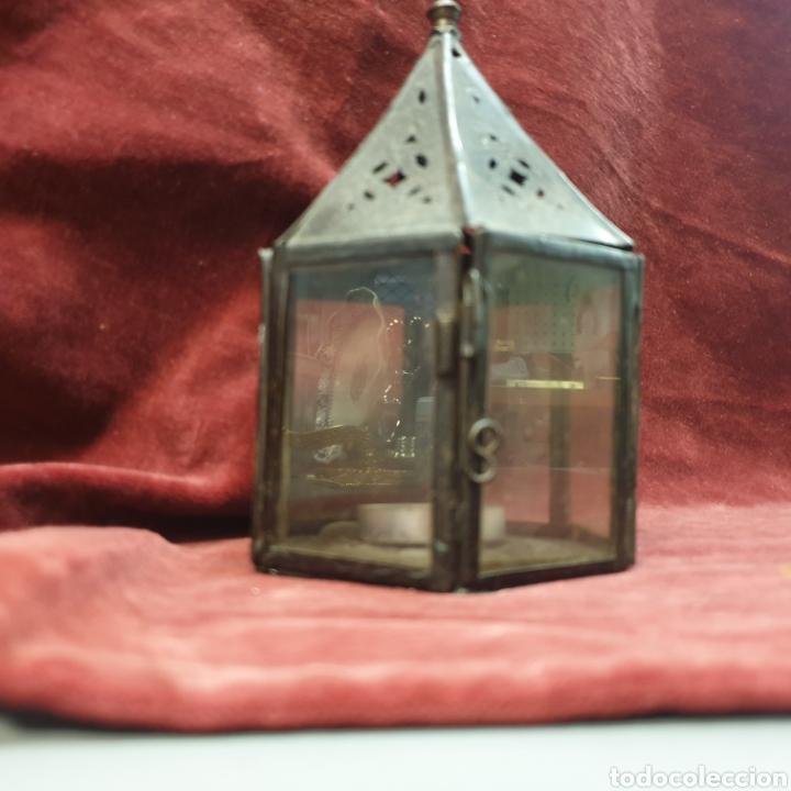 Antigüedades: Farolillo porta velas 15cm alto - Foto 3 - 289487228