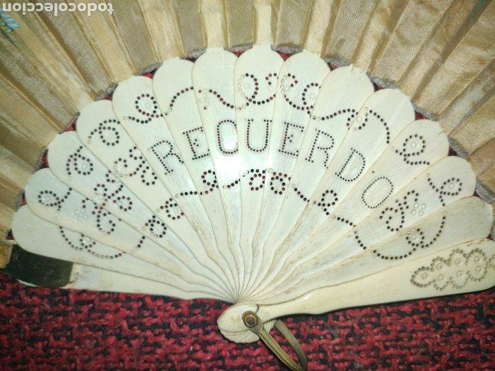 Antigüedades: ABANICO SIGLO XIX EN MARFIL Ó HUESO PINTADO A MANO CON BOUQUET FLORAL - Foto 5 - 289526588