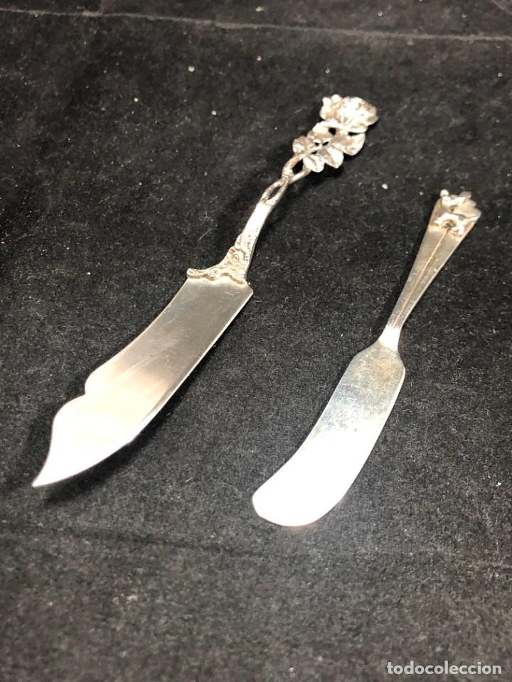 Antigüedades: Pareja de pequeños cuchillos de plata de ley, de colección. Recuerdos de Viajes. buen estado. 925 - Foto 8 - 289538833