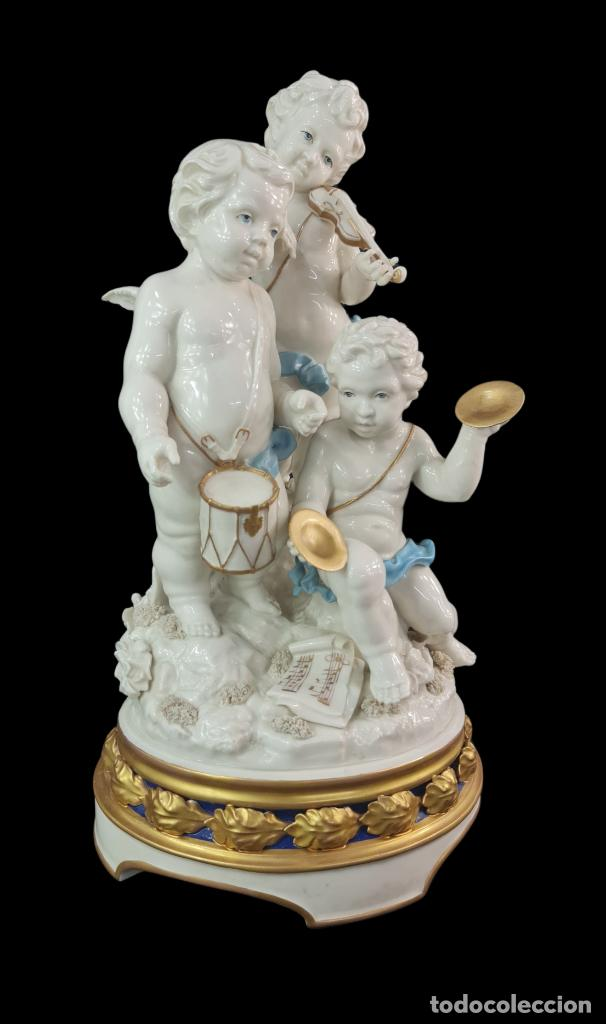 Antigüedades: Gran grupo orquestal ángeles Algora. Muy raro a dos tonos azul y oro. 44x25cm aprox. Porcelana - Foto 2 - 289613178
