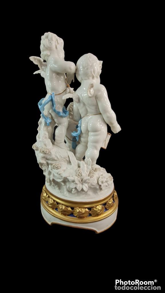Antigüedades: Gran grupo orquestal ángeles Algora. Muy raro a dos tonos azul y oro. 44x25cm aprox. Porcelana - Foto 3 - 289613178