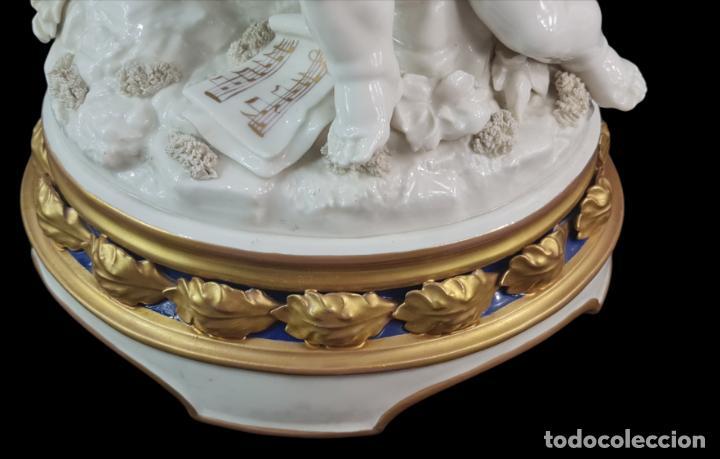 Antigüedades: Gran grupo orquestal ángeles Algora. Muy raro a dos tonos azul y oro. 44x25cm aprox. Porcelana - Foto 8 - 289613178