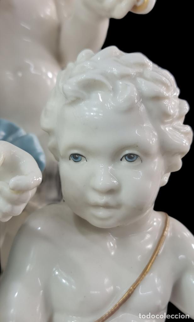 Antigüedades: Gran grupo orquestal ángeles Algora. Muy raro a dos tonos azul y oro. 44x25cm aprox. Porcelana - Foto 10 - 289613178