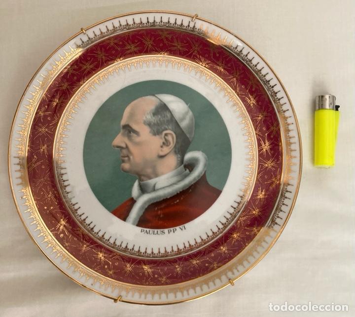 PLATO DE PORCELANA ITALUANA , PAPA PABLO VI , AÑOS 70 (Antigüedades - Porcelanas y Cerámicas - Otras)