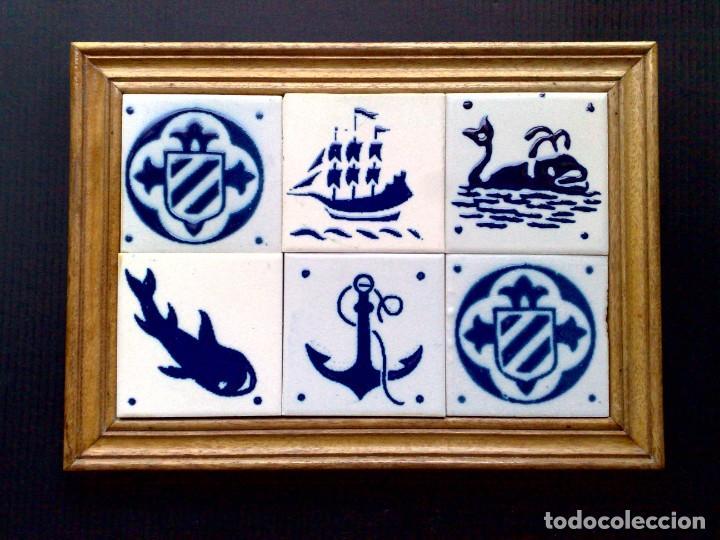 CUADRO DE 6 AZULEJOS DE CERÁMICA ENMARCADOS (DESCRIPCIÓN) (Antigüedades - Porcelanas y Cerámicas - Azulejos)