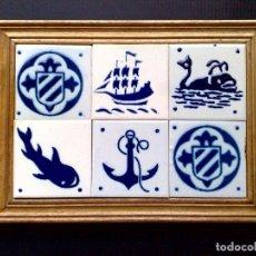 Antigüedades: CUADRO DE 6 AZULEJOS DE CERÁMICA ENMARCADOS (DESCRIPCIÓN). Lote 289722738