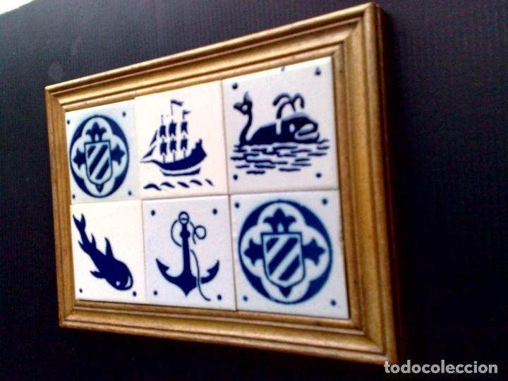 Antigüedades: CUADRO DE 6 AZULEJOS DE CERÁMICA ENMARCADOS (DESCRIPCIÓN) - Foto 2 - 289722738