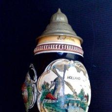 Antigüedades: JARRA DE CERVEZA DE CERÁMICA ESMALTADA (NÚMERADO) DECORADO EN RELIEVE,HOLLAND-AMSTERDAM (DESCRIPCIÓN. Lote 289724938