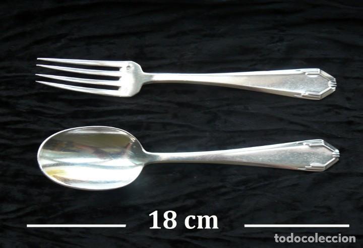 Antigüedades: Cuchara y un tenedor. plata 950. francia. Siglo 19 - Foto 3 - 289737768