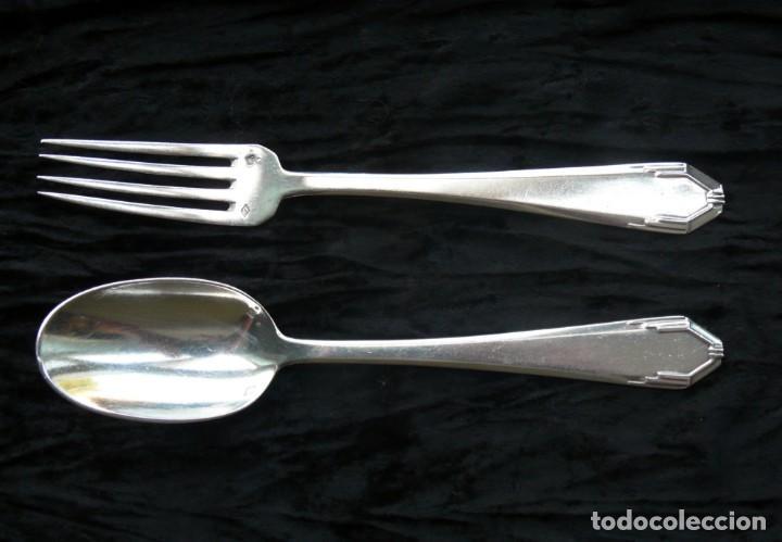 Antigüedades: Cuchara y un tenedor. plata 950. francia. Siglo 19 - Foto 6 - 289737768