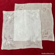 Antigüedades: 2 PANUELOS VINTAGE CON DESHILADOS. Lote 289790333