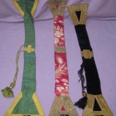 Antigüedades: LOTE 3 MANIPULOS SACERDOTALES USADOS. ANTIGUOS FINALES SXIX PRINCIPIOS SXX.. Lote 289835483