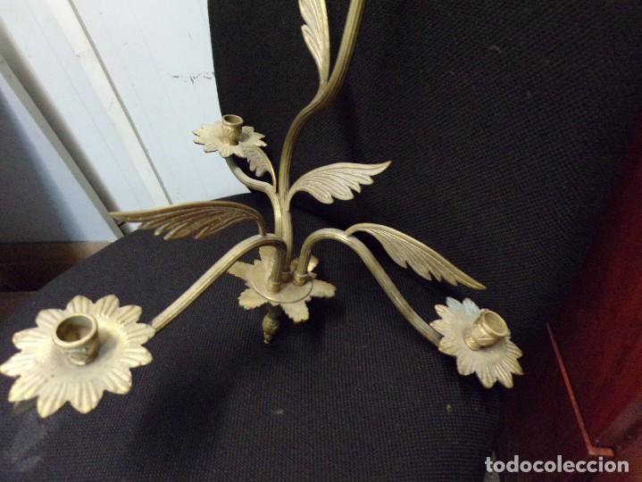 Antigüedades: bonita lampara candelabro de tres velas de bronce muy decorativa y en buen estado - Foto 6 - 289852043
