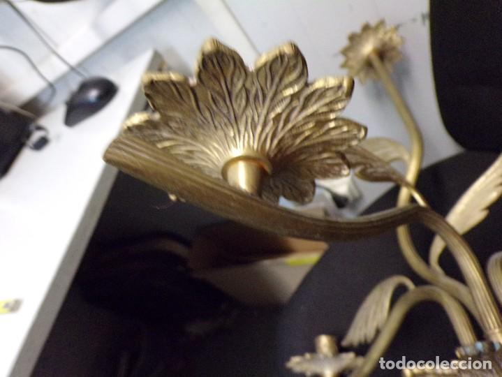 Antigüedades: bonita lampara candelabro de tres velas de bronce muy decorativa y en buen estado - Foto 10 - 289852043