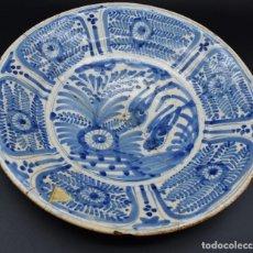 Antigüedades: PLATO DE LOZA TALAVERA ✔️ HELECHOS SIGLO XVIII ✔️ CERÁMICA ANTIGUA GOLONDRINAS ALTA COLECCION. Lote 289852648
