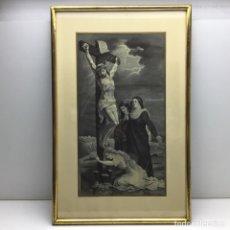 Antigüedades: CRISTO EN LA CRUZ - CUADRO DE SEDA JACARD - TIPO BROCADO - DE ORIGEN FRANCES - SOIER. Lote 289880653