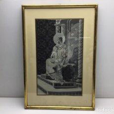 Antigüedades: VIRGEN CON NIÑO JESUS - CUADO DE SEDA JACARD - TIPO BROCADO - ORIGEN FRANCES - SOIER. Lote 289881403
